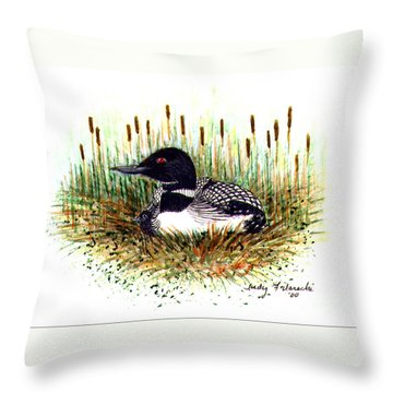 Throw Pillow featuring the painting Loon And Baby Judy Filarecki Watercolor by Judy Filarecki