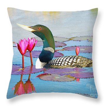 Loon And Lotus Throw Pillow