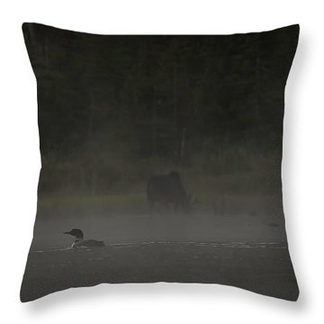 Loon And Moose In The Mist Throw Pillow