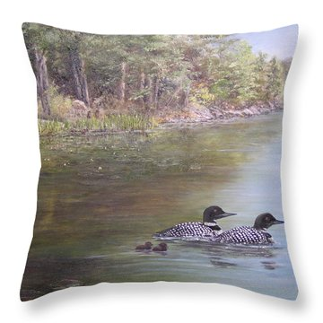 Loon Family 1 Throw Pillow