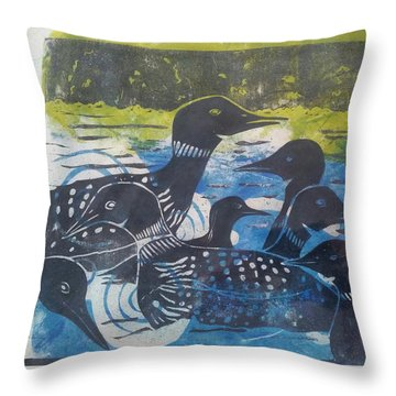Loon, I See Throw Pillow by Cynthia Lagoudakis