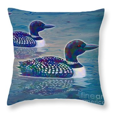 Throw Pillow featuring the painting Loon Lagoon by Teresa Ascone