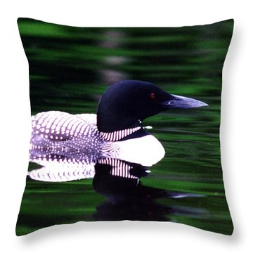 Loon On The Lake Throw Pillow