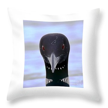 Loon Portrait Throw Pillow by Peter Gray
