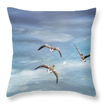 Loons Over Ice - Three Throw Pillow by Vicki Jauron