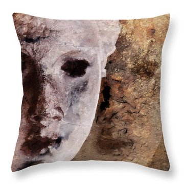Throw Pillow featuring the digital art Loosing The Real You Behind The Mask by Gun Legler