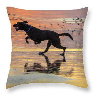 Loping Dog Throw Pillow