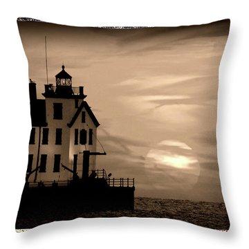 Lorain Lighthouse - Lake Erie - Lorain Ohio Throw Pillow
