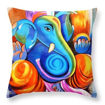 Lord Ganesh  Throw Pillow by Rupa Prakash