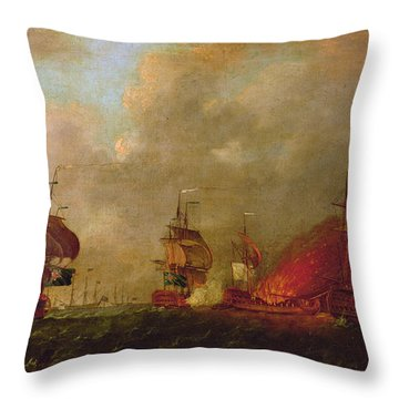 Lord Howe And The Comte Destaing Off Rhode Island Throw Pillow by Robert Wilkins