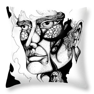 Throw Pillow featuring the drawing Lord Of The Flies Study by Curtiss Shaffer