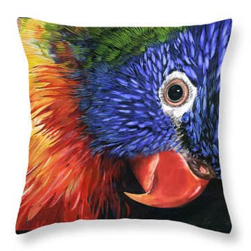 Lorikeet Throw Pillow by Nadi Spencer