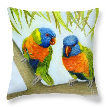 Lorikeet Pair Throw Pillow