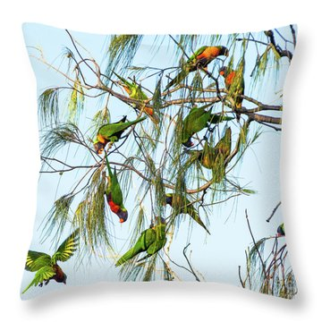 Lorikeets Swarming From Tree To Tree Throw Pillow