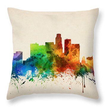 Los Angeles California Skyline 05 Throw Pillow by Aged Pixel