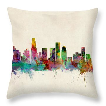 Los Angeles California Skyline Signed Throw Pillow by Michael Tompsett