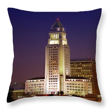 Los Angeles City Hall Building Throw Pillow by Wernher Krutein
