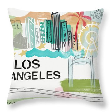 Los Angeles Cityscape- Art By Linda Woods Throw Pillow by Linda Woods