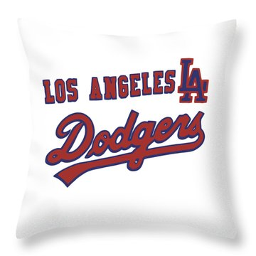 Throw Pillow featuring the mixed media Los Angeles Dodgers by Gina Dsgn