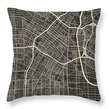 Los Angeles Map Throw Pillow by Jazzberry Blue