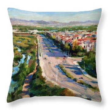 Los Angeles - Playa Vista From South Bluff Trail Road Throw Pillow