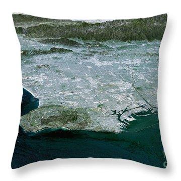 Los Angeles, Radar Image Throw Pillow by NASA / Science Source