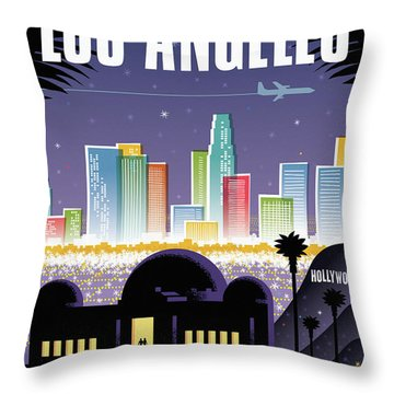 Los Angeles Retro Travel Poster Throw Pillow