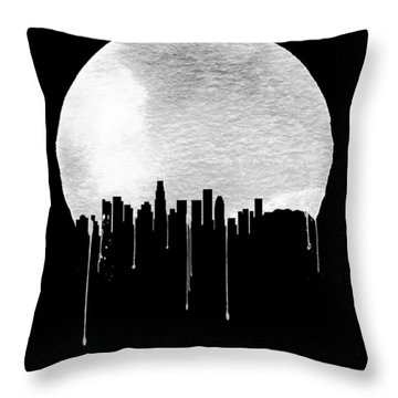 Los Angeles Skyline Black Throw Pillow by Naxart Studio