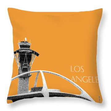 Los Angeles Skyline Lax Spider - Orange Throw Pillow by DB Artist