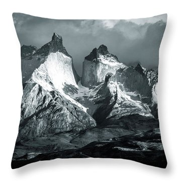 Los Cuernos In Black And White Throw Pillow by Andrew Matwijec