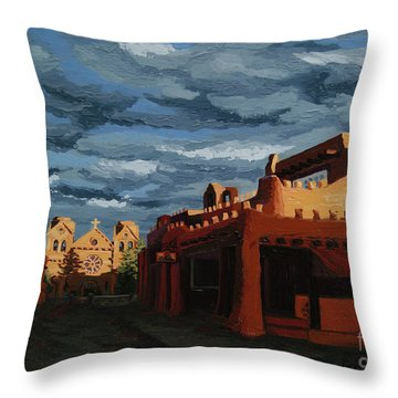 Throw Pillow featuring the painting Los Farolitos,the Lanterns, Santa Fe, Nm by Erin Fickert-Rowland
