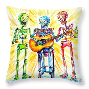Los Tres Cantantes Throw Pillow by Heather Calderon