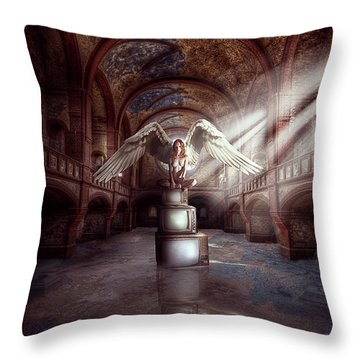 Throw Pillow featuring the digital art Losing My Religion by Nathan Wright