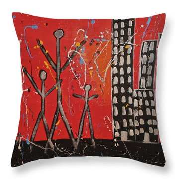 Throw Pillow featuring the painting Lost Cities 13-001 by Mario Perron