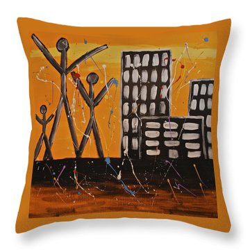Throw Pillow featuring the painting Lost Cities 13-002 by Mario Perron