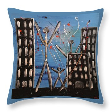 Throw Pillow featuring the painting Lost Cities 13-003 by Mario Perron