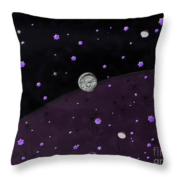 Lost In Midnight Charcoal Stars Throw Pillow