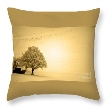 Throw Pillow featuring the photograph Lost In Snow - Winter In Switzerland by Susanne Van Hulst