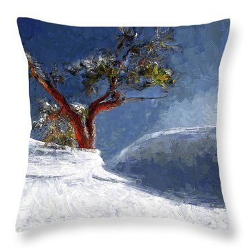 Lost In The Snow Throw Pillow by Alex Galkin