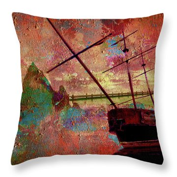 Throw Pillow featuring the digital art Lost Island by Greg Sharpe