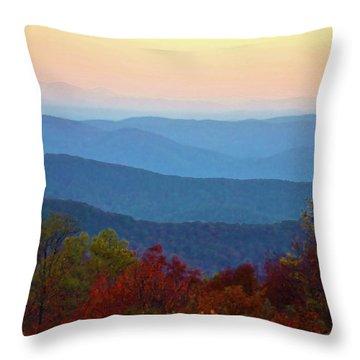 Lost On The Blueridge Throw Pillow by B Wayne Mullins