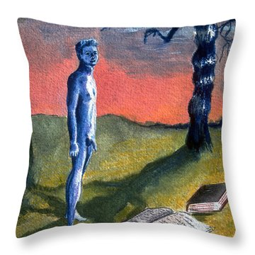 Throw Pillow featuring the painting Lost by Rene Capone