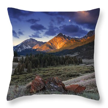 Lost River Mountains Moon Throw Pillow by Leland D Howard