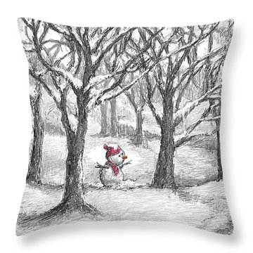 Lost Snowman Throw Pillow