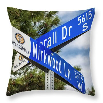 Throw Pillow featuring the photograph Lotr Mirkwood Street Signs by Gary Whitton