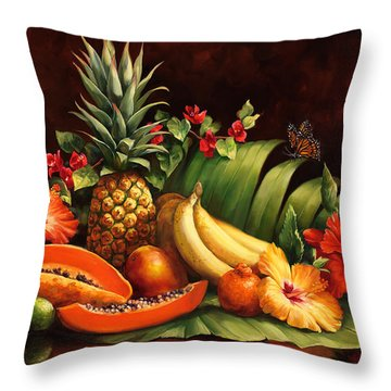 Lots Of Fruit Throw Pillow by Laurie Hein