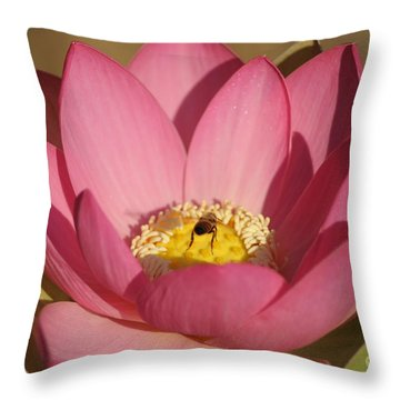 Lotus And Bee Throw Pillow
