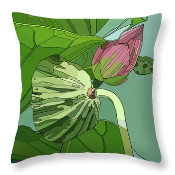 Lotus And Bud Throw Pillow