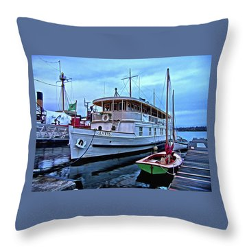 Throw Pillow featuring the photograph Lotus And The Dinghies by Thom Zehrfeld