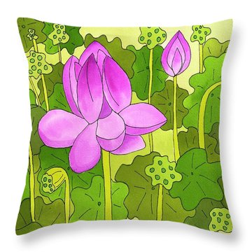 Lotus And Waterlilies Throw Pillow